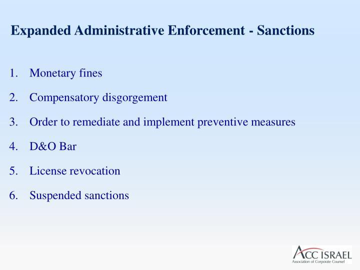 Expanded Administrative Enforcement - Sanctions