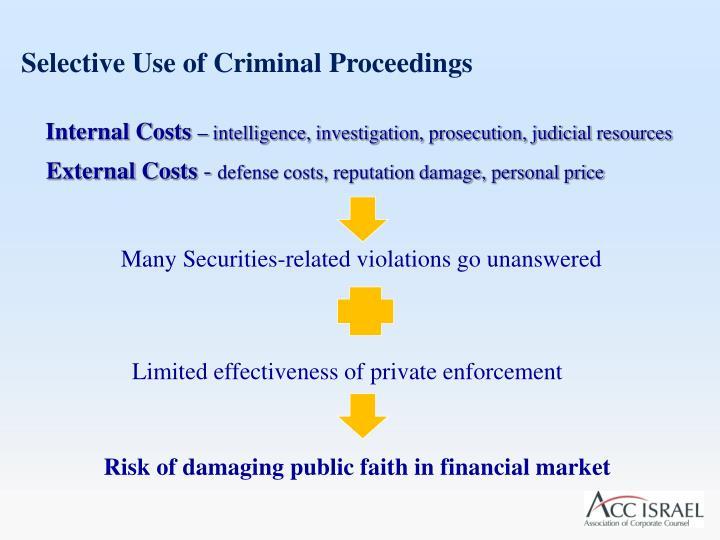 Selective Use of Criminal Proceedings