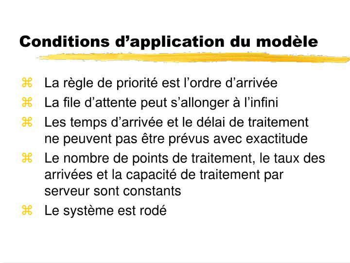 Conditions d'application du modèle