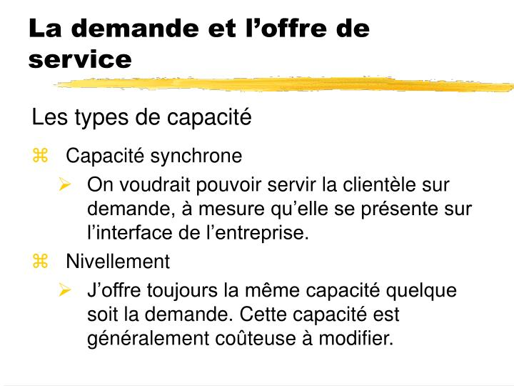 La demande et l'offre de service