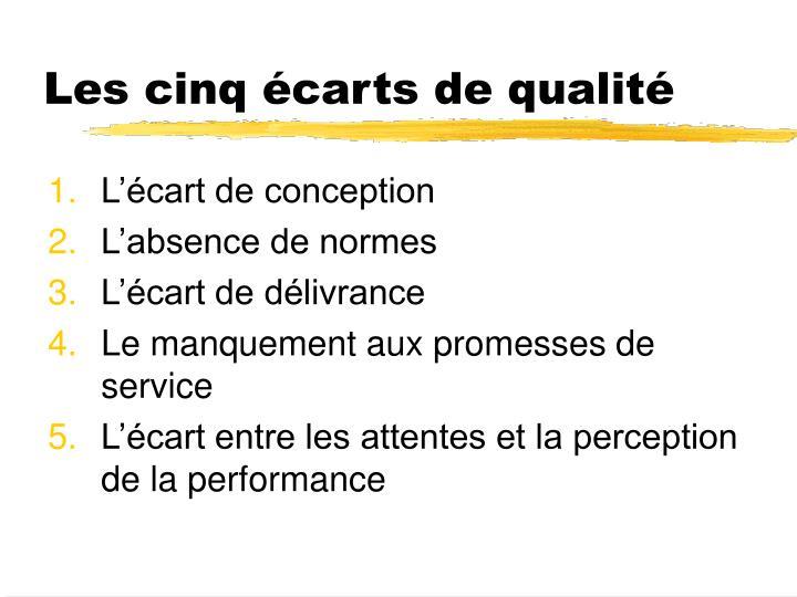 Les cinq écarts de qualité