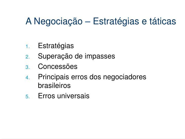 A Negociação – Estratégias e táticas