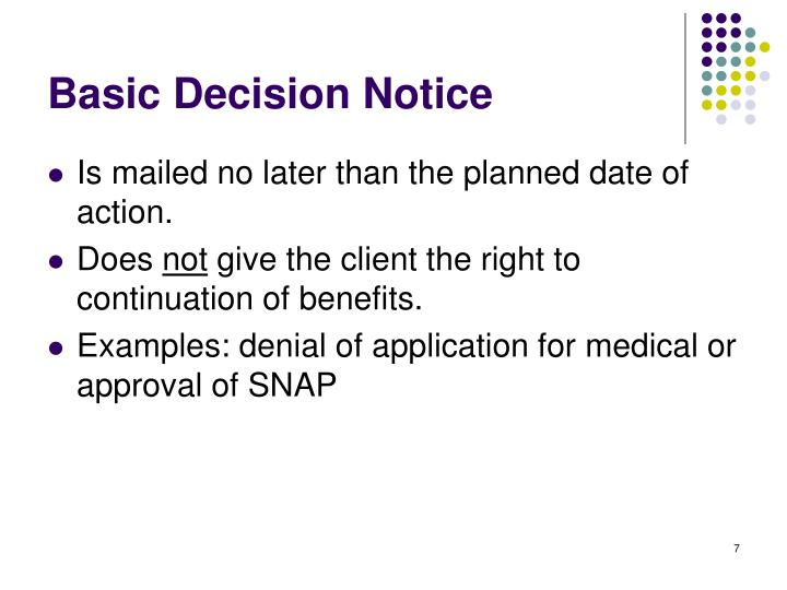 Basic Decision Notice