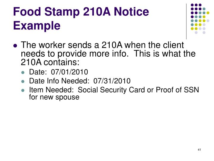 Food Stamp 210A Notice Example