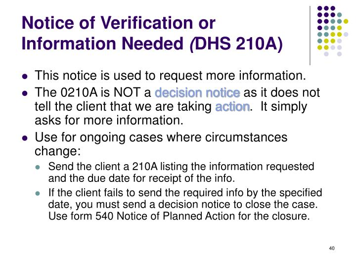 Notice of Verification or Information Needed
