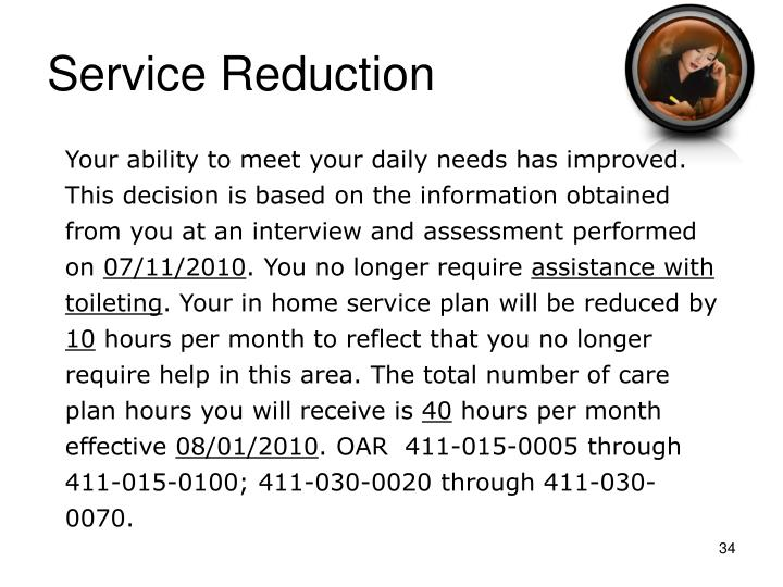 Service Reduction