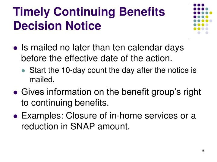 Timely Continuing Benefits Decision Notice