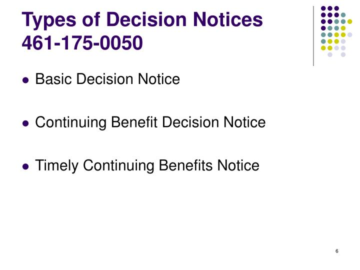 Types of Decision Notices