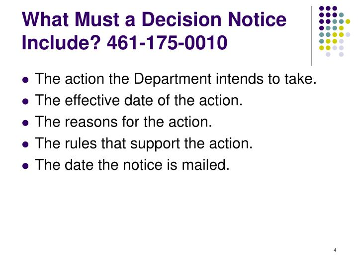 What Must a Decision Notice Include? 461-175-0010