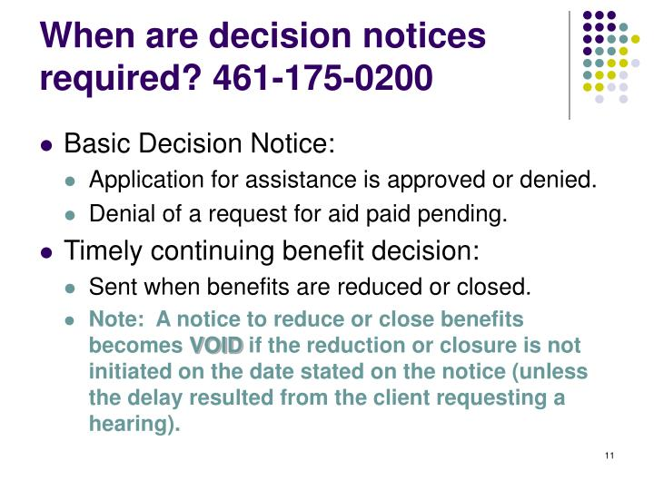 When are decision notices required? 461-175-0200