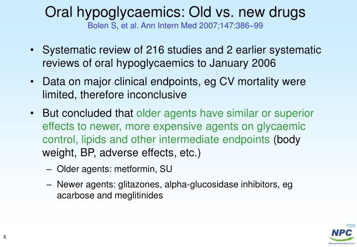 Oral hypoglycaemics: Old vs. new drugs
