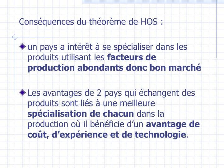 Conséquences du théorème de HOS: