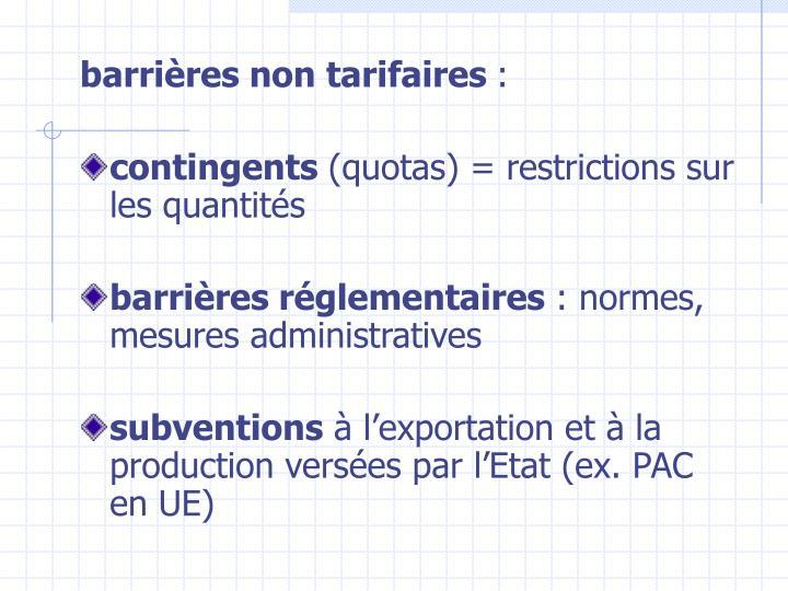 barrières non tarifaires