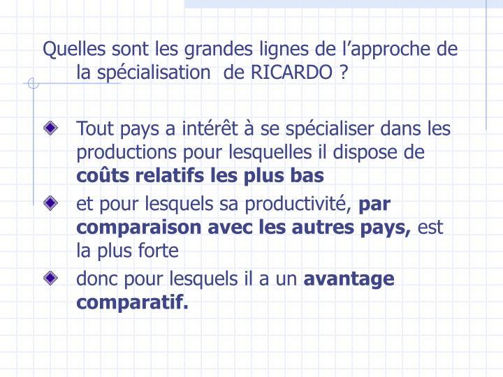 Quelles sont les grandes lignes de l'approche de la spécialisation  de RICARDO?