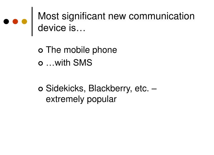 Most significant new communication device is…