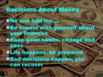 decisions about money