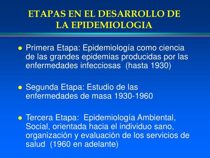 ETAPAS EN EL DESARROLLO DE LA EPIDEMIOLOGIA