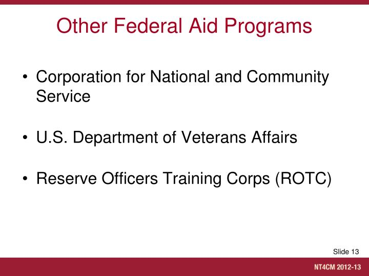 Other Federal Aid Programs