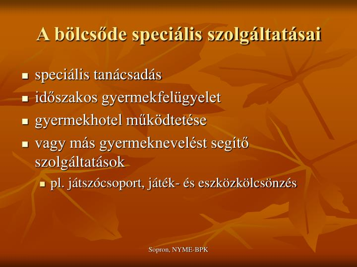 A bölcsőde speciális szolgáltatásai
