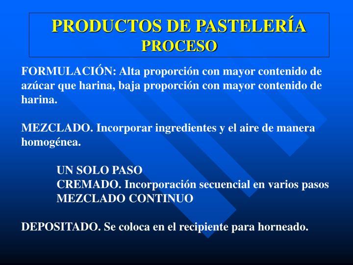 PRODUCTOS DE PASTELERÍA