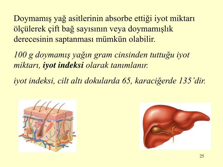 Doymamış yağ asitlerinin absorbe ettiği iyot miktarı ölçüle