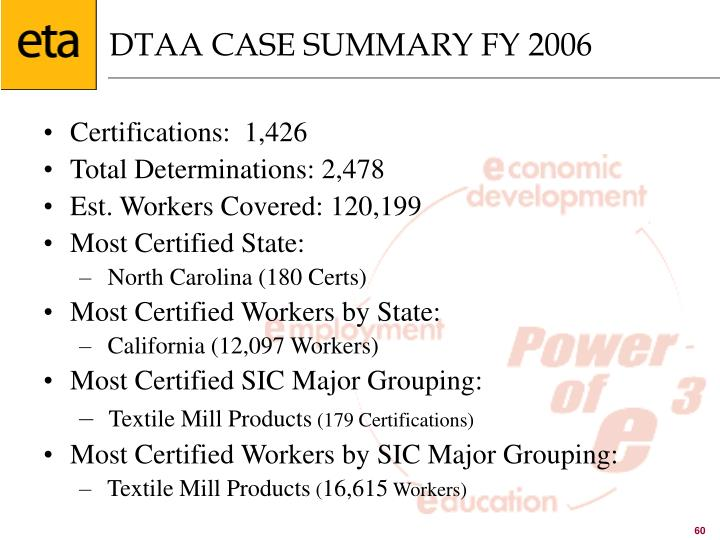 DTAA CASE SUMMARY FY 2006