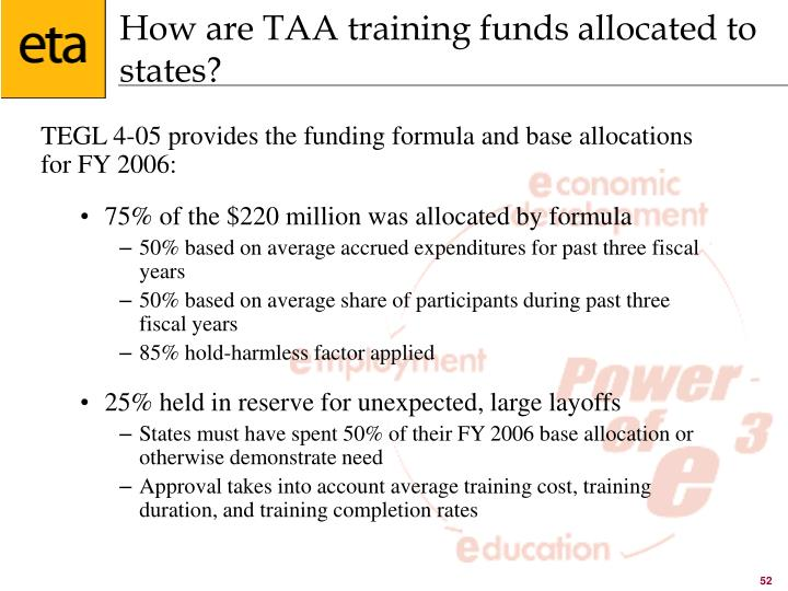 How are TAA training funds allocated to states?