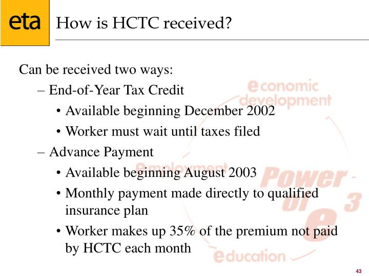 How is HCTC received?