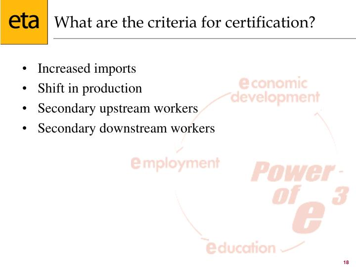 What are the criteria for certification?