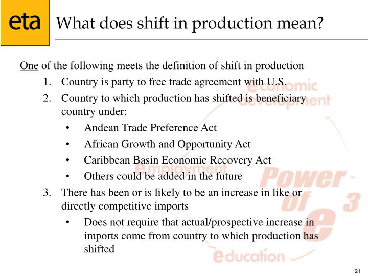 What does shift in production mean?