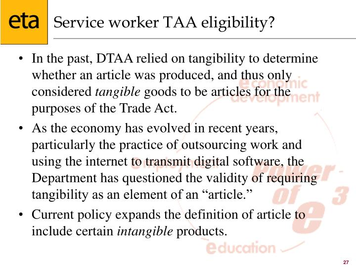 Service worker TAA eligibility?