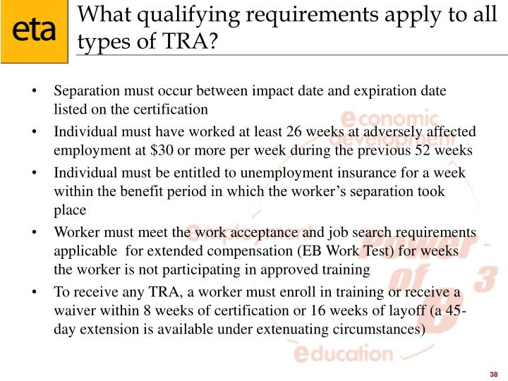 What qualifying requirements apply to all types of TRA?