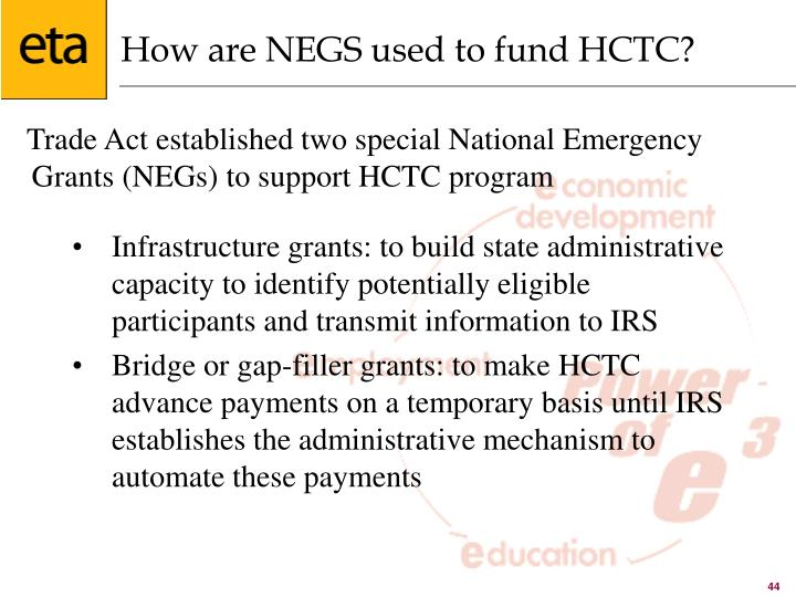 How are NEGS used to fund HCTC?