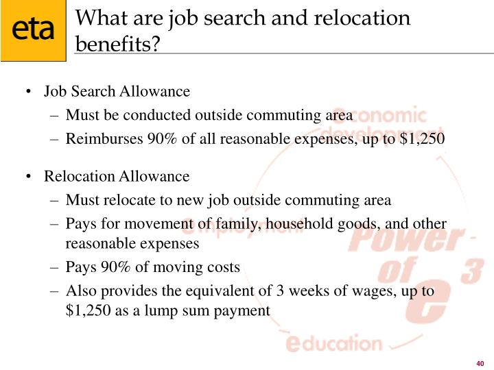 What are job search and relocation benefits?
