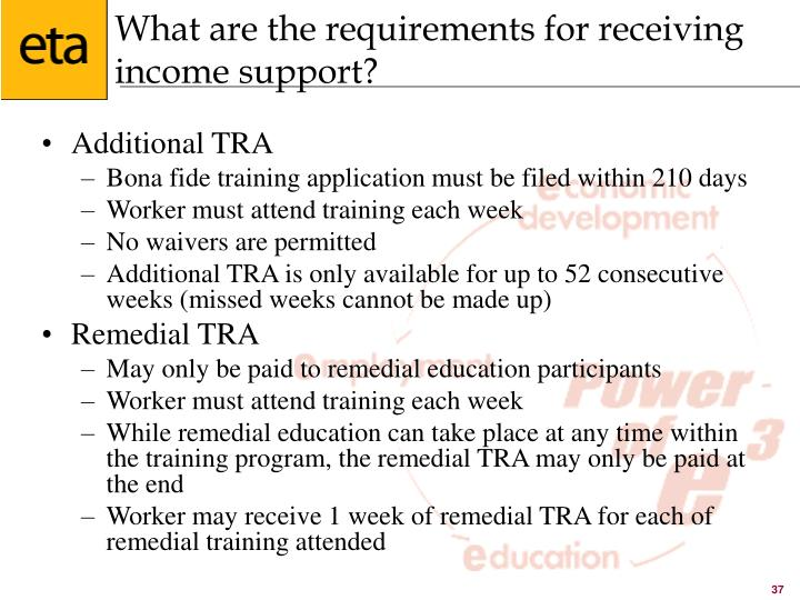 What are the requirements for receiving income support?