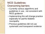 nice guidelines overcoming barriers