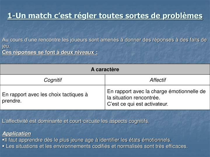 1-Un match c'est régler toutes sortes de problèmes