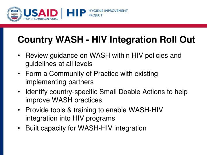 Country WASH - HIV Integration Roll Out