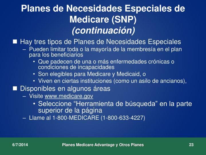 Planes de Necesidades Especiales de Medicare (SNP)