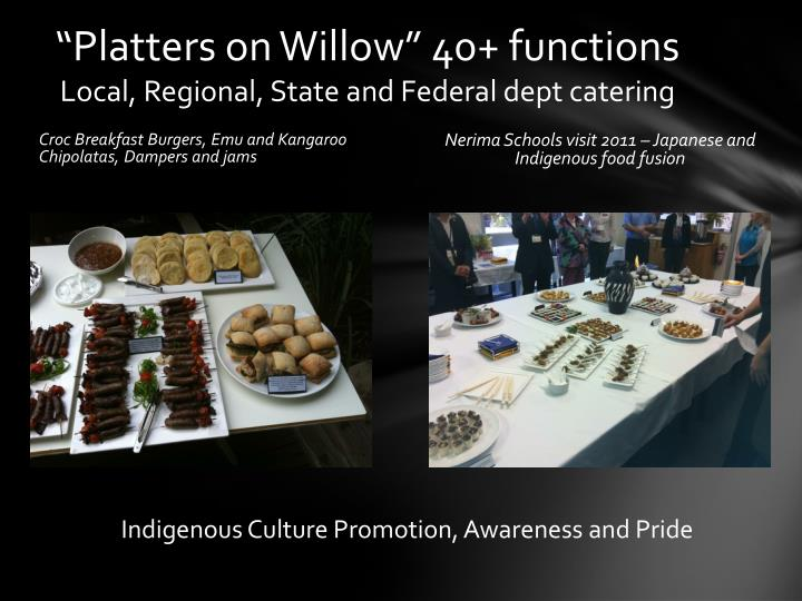 """Platters on Willow"" 40+ functions"