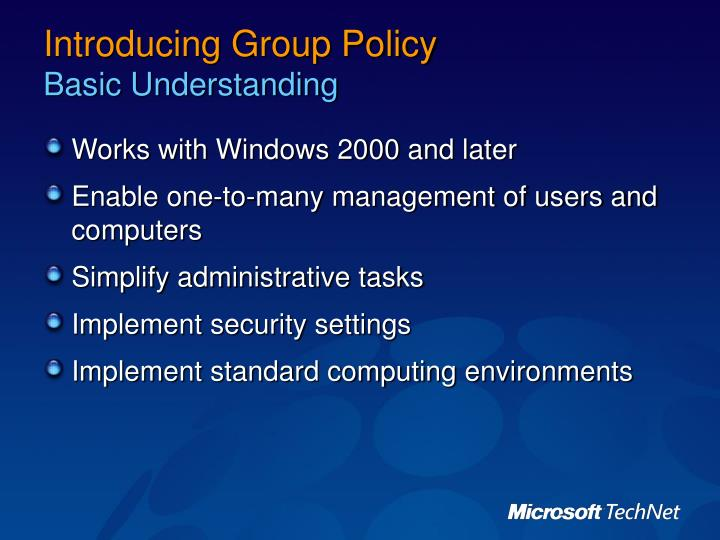 Introducing group policy basic understanding