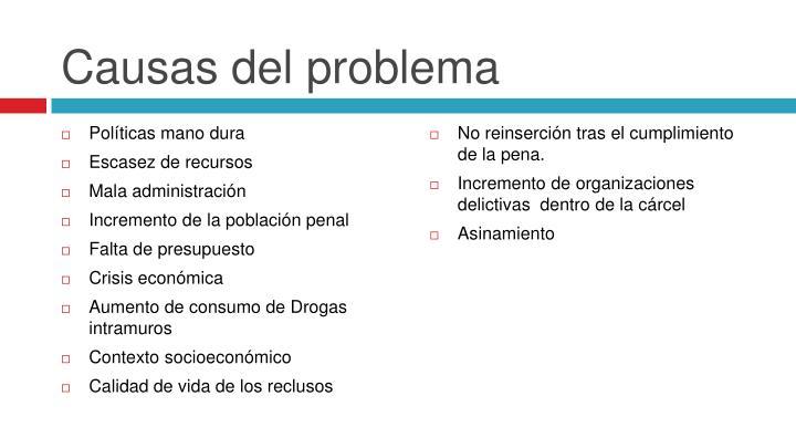Causas del problema