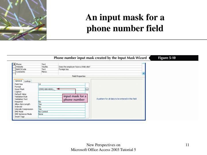 An input mask for a