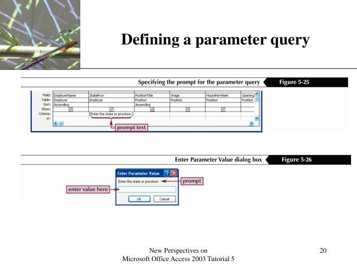 Defining a parameter query