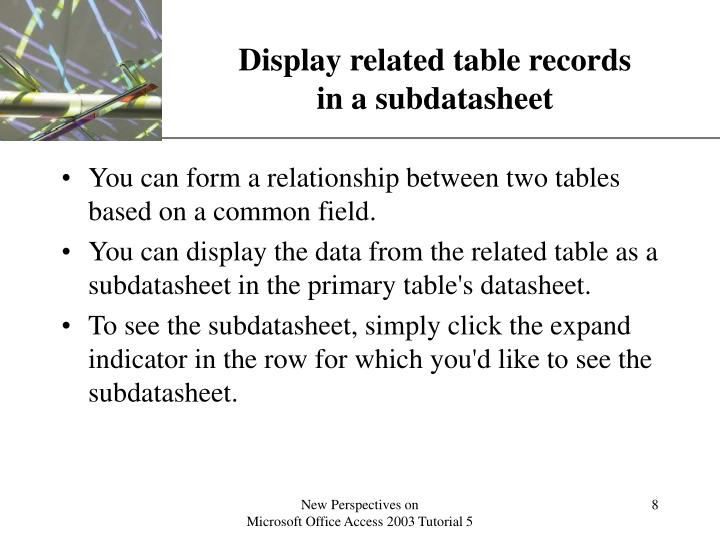 Display related table records