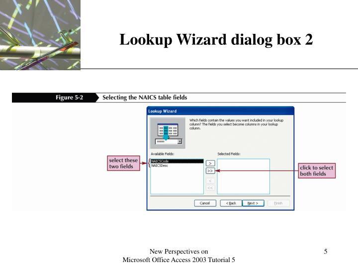 Lookup Wizard dialog box 2