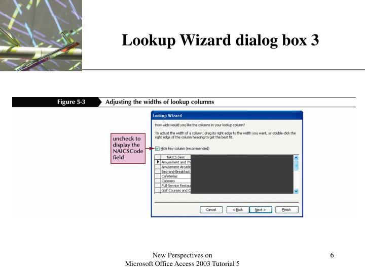 Lookup Wizard dialog box 3