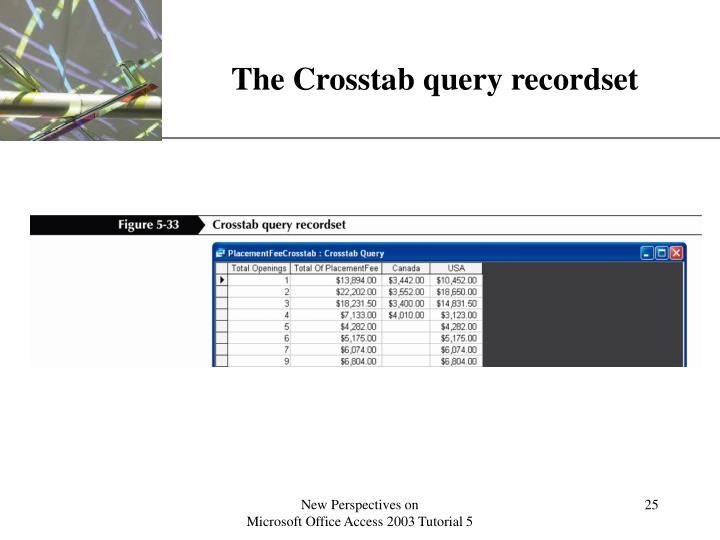 The Crosstab query recordset