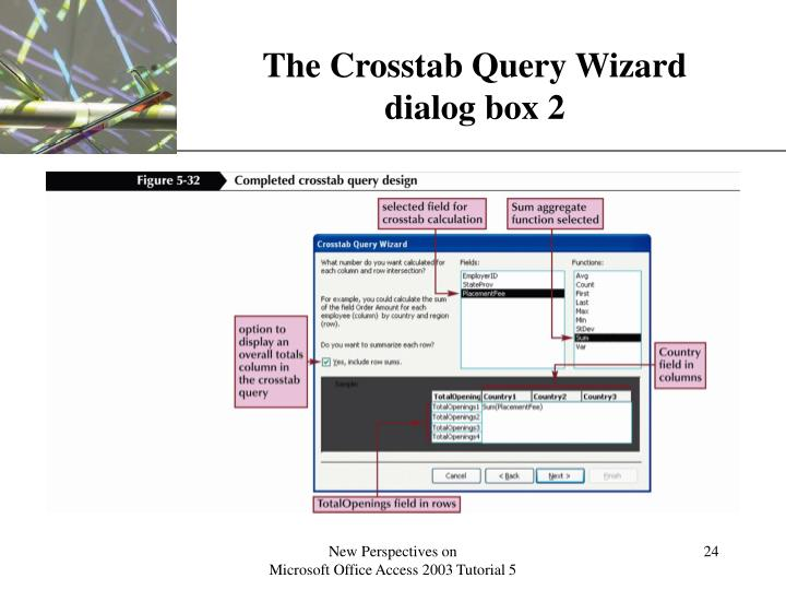 The Crosstab Query Wizard