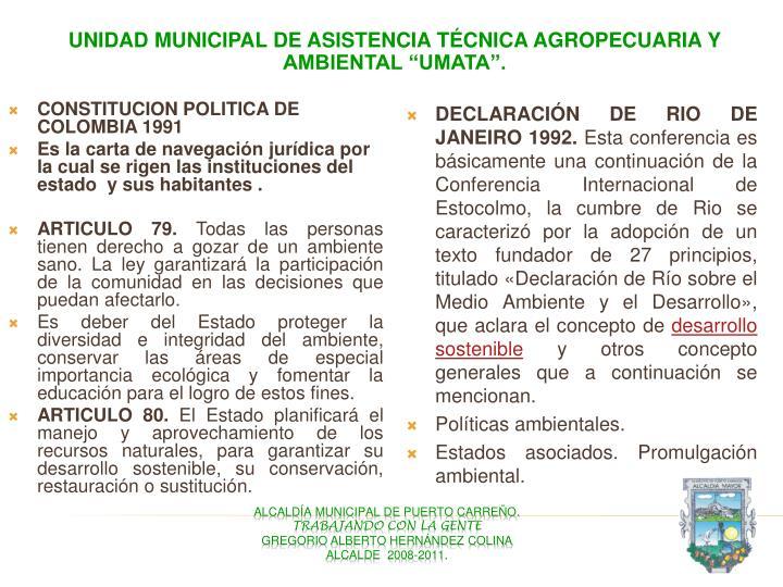 """Unidad Municipal de Asistencia Técnica Agropecuaria y Ambiental """"UMATA""""."""